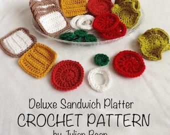 Deluxe Sandwich Platter Play Food crochet PATTERN by Julian Bean