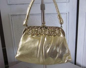 1960s Small Gold Metallic Fabric Evening Bag