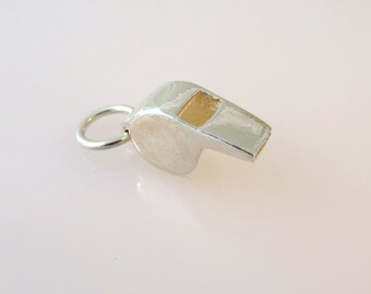 Sterling Silver 3-D WHISTLE Charm Pendant Coach Referee Sports .925 Sterling Silver New sp04