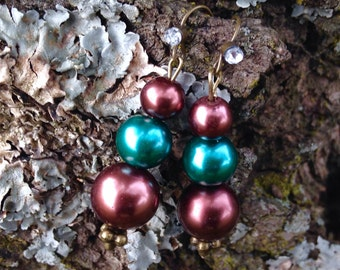 Chocolate & Teal Pearl Drop Earrings