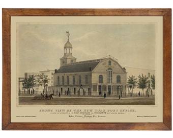 New York Post Office, 1845; 24x36 inch print reproduced from a vintage lithograph