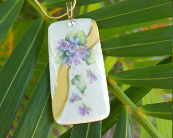 Porcelain pendant - Handpainted with violets and gold accents
