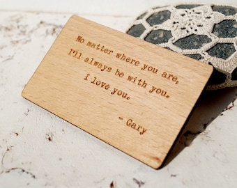 Wooden Wallet Insert Card, Personalized 5th Wood Anniversary Gift, Custom Laser Engraved Wallet Insert, Real Wood Wallet Card