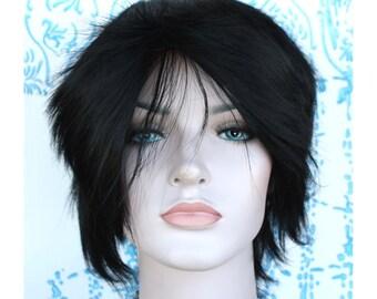 Black spiky short wig. Ready to ship.