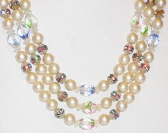 Vintage cristal et perle 3 vitesses de collier, bijoux