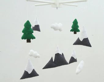 Mountains, fir trees mobile, woodland baby mobile, mountain baby mobile