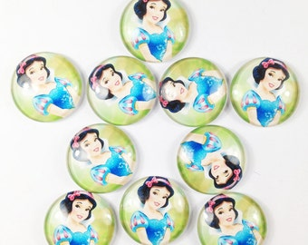 "Lot 10pcs 1"" Princess snow white Flat back Glass Cabochons Flatbacks Girl Hair Bow Center Bottle Caps Crafts Embellishments Crafts DIY"
