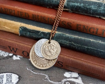 Coin Jewelry, Men's Jewelry, long necklace, Unisex Jewelry, Coin Necklace, Coin Pendant, Men's Necklace