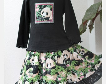 Pandas! Girls Outfit Ruffled Twirl Skirt Knee Length Tiered Skirt & Long Sleeve Top Set Girl Clothes Kids Clothes Pre-teen Gift Animal Lover