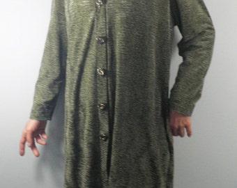 Vintage Green Velour Velvet Long Cardigan   Size L    Boho