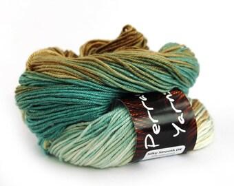 Hand dyed wool DK, double knitting superwash merino silk light worsted crochet yarn skein, uk Perran Yarns, Sandy Toes pale blue ecru brown