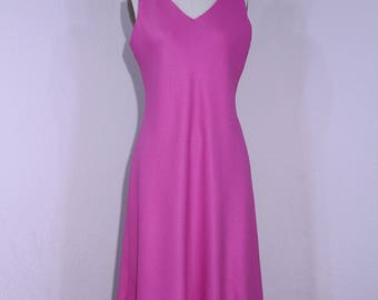 Vintage 1980 Pink Dress Sleeveless V-Neckline A-Line Skirt