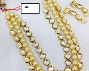 Elegant Kundan and Imitation Pearl Necklace Set