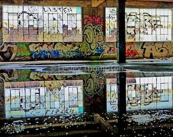 Graffiti Windows - Reflection - Abandoned - Urban Decay - Industrial - Montreal - Street Art Print - Photograph - Wall Art
