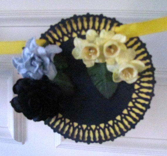 Happy Birthday Banner in Pretty Floral Doily Cut with 3D Flowers