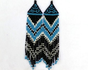 Native  American Earrings  Inspired.  Black White Blue Earrings. Long Earrings.  Beadwork.