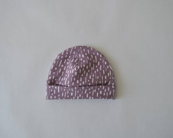 Baby hat purple with white dashes-baby clothes