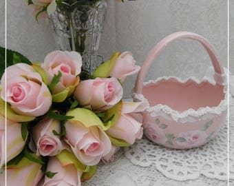 Ceramic Pink Blush Egg Basket, Hand Painted with Cottage Roses Strokes and Dots, Easter, Spring Home Accent, ECS