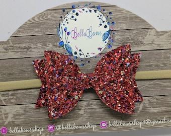 "Red Glitter Hair Bow-Alligator Clip-Baby Headband-Photo Prop-Chunky Glitter-Toddler Hair Bow-3.5"" Hair BowGlitter Hair Bow"