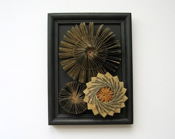 Framed Book Art Paper Sculpture - Waxed Paper Cogs No8 Paper Succulents - Recycled Book Wall Sculpture - Black Home Decor - Contemporary Art
