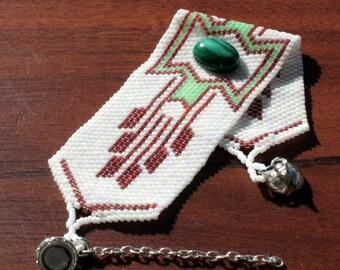 Bracelet de perles tissage Peyote perles - Perles Bracelet - OOAK - Bracelet en perles Peyote - Pierre Malachite