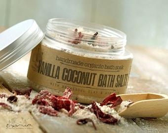 Vanilla Coconut BATH SALTS with Rhassoul clay and Hibiscus, Organic Bath Salts, Bath Soak, Essential oils bath salts, Spa Relaxation