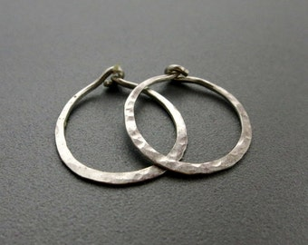 "Small Hammered Sterling Silver Hoop Earrings 0.75""D"