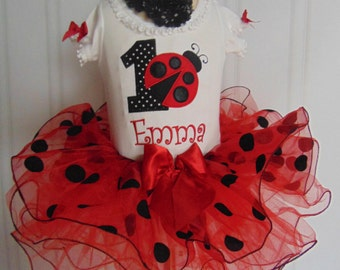 Ladybug Birthday Outfit- Summer Ladybug Outfit- Red tutu - Cute Embroidered and Personalized Bodysuit/T-Shirt/Tutu and Headband