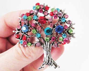 Multi Colour Tree Brooch, Tree Brooch Pin, Tree of Life Brooch, Tree of Life Jewellery, Tree of Life Jewelry, Multi Colour Tree Brooch