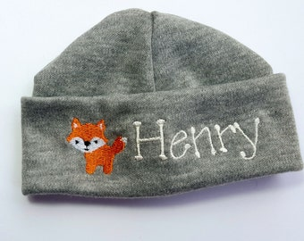 Personalized Monogrammed Newborn Beanie with Fox Embroidery
