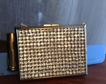 rhinestone compact carryall cigarette case evening bag clutch purse