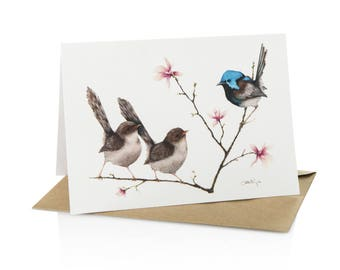 """A6 Greeting Card Fairy Wren """"Love at First Sight"""""""