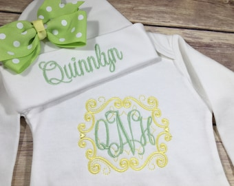 Personalized Coming Home Outfit, Monogram Scroll Baby Gown Hat, Yellow Newborn Girl Outfit, Monogram Embroidered Gown, Personaliz