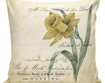 Easter Pillows, Daffodils, Spring Pillows, Throw Pillow Covers, Daffodil, Botanical Print, Burlap, Cotton,Spring Throw Pillow Covers #SP0211