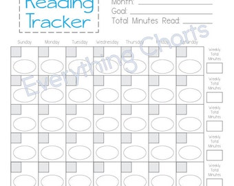 Reading Chart for Girls - PDF File/Printable