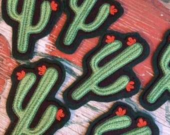Chainstich embroidered Saguaro cactus patch!