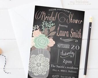 Mason Jar Bridal Shower Invitation / Digital Printable Birthday Invite for Wedding / DIY Party