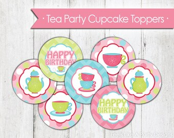 Tea Party Cupcake Toppers - Instant Download