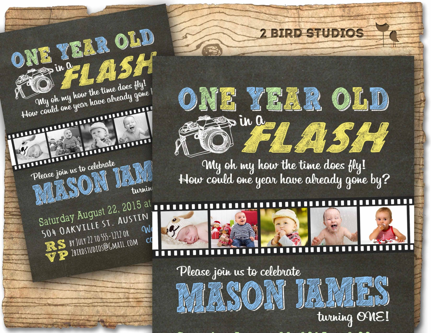 1st birthday invitation one year old in a flash first
