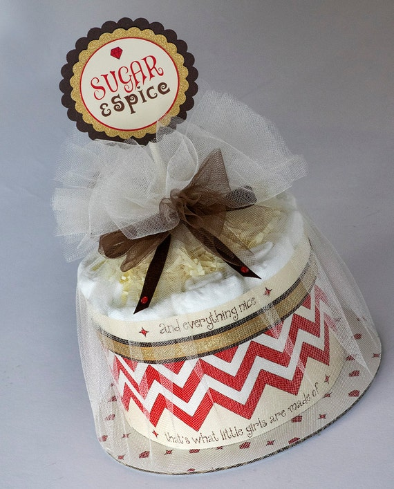 Diaper Cake - Diaper Cakes - Sugar & Spice Diaper Cake - Baby Gift - Baby Shower Decor - Sugar and Spice Baby Shower - Baby Girl Diaper Cake