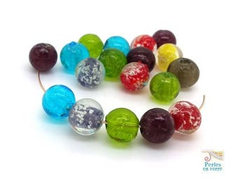10 pearls 10mm multicolored glass with color glitter (pv724)