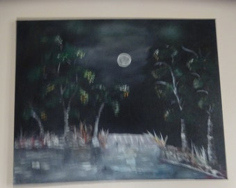 Midnigth Paradise, unique painting, oil painting, moonlight, wall decor