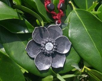 Red Hemp Flower Necklace