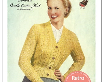 1950s Lady's Cardigan - Vintage Knitting Pattern- PDF Instant Download
