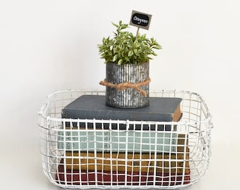Faux Oregano in a Galvanized Pot; Rustic Pots of Faux Herbs; Farmhouse Kitchen; Kitchen Decor; Artificial Herbs with Garden Marker