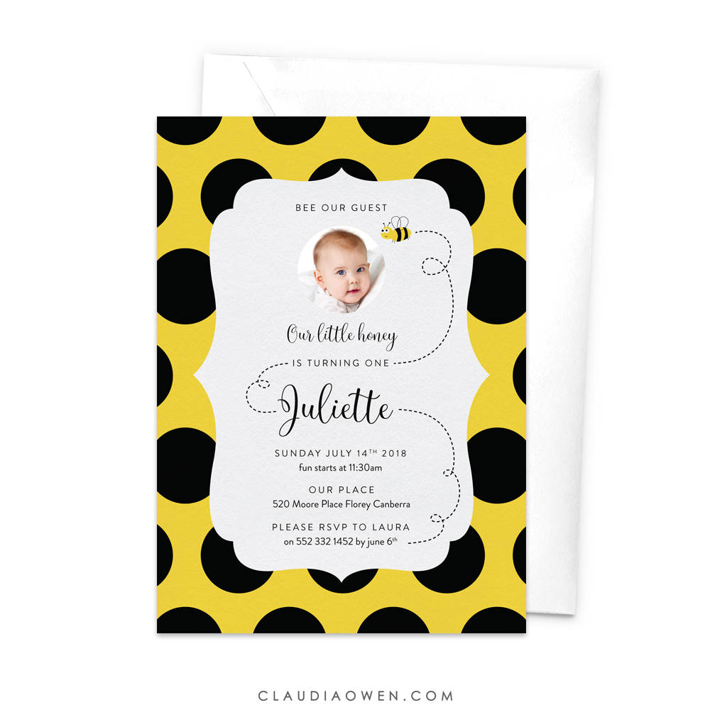 Bumblebee Birthday Invitation Bee Party Bumble Bee Birthday