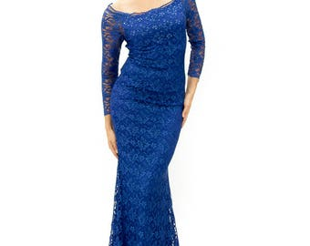 Amazing Royal Blue evening gown with flowers, Long lace dress, Long evening dress in blue, Long formal dress, occasion women dresses