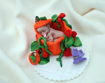 Pumpkin Baby Boy Girl Fall Pumpkin Cake Topper, Fall Baby Pumpkin Ornament, Baby Cake Centerpiece