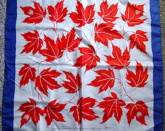 Vintage Girl Guides of Canada Maple Leaf Print Scarf Designed by Jean Miller