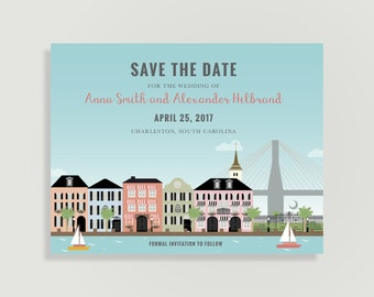 Charleston Save the Date - Charleston, South Carolina - Magnets Available - Personalized Printable File or Print Pkg -  #00232-STDA2